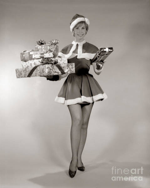 Photograph - Woman In Sexy Santa Outfit, C.1960s by H. Armstrong Roberts/ClassicStock