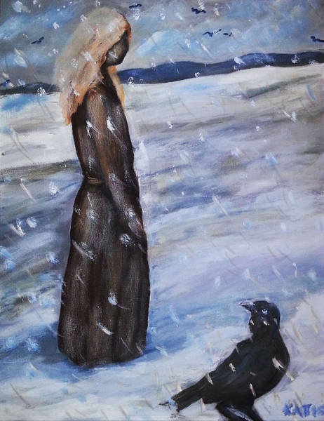 Painting - Woman In Snow With Crow by Katt Yanda