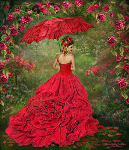 Mixed Media - Woman In The Rose Gown by Carol Cavalaris
