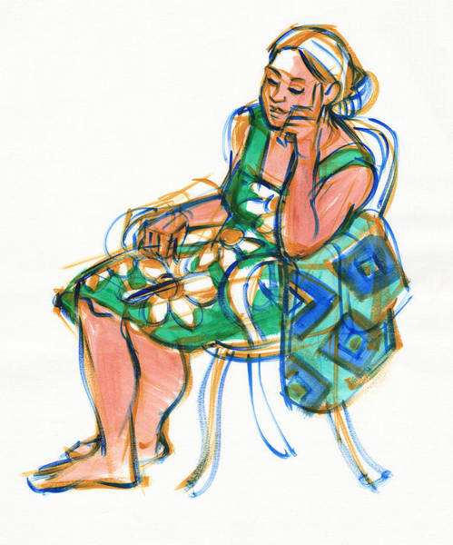 Painting - Woman In Wicker Chair by Judith Kunzle