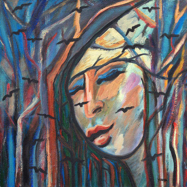 Painting - Woman In Woods With Birds by Katt Yanda