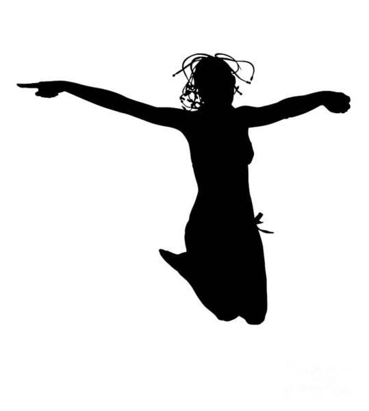 Digital Art - Woman Jumping Backlight by Benny Marty