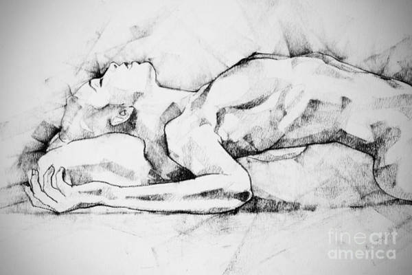 Drawing - Woman Lateral Pose Close Up Abstract Drawing by Dimitar Hristov