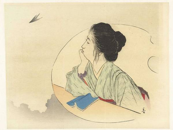 Painting - Woman Looking At A Bird, Kajita Hanko  1900   1917 by Artistic Panda
