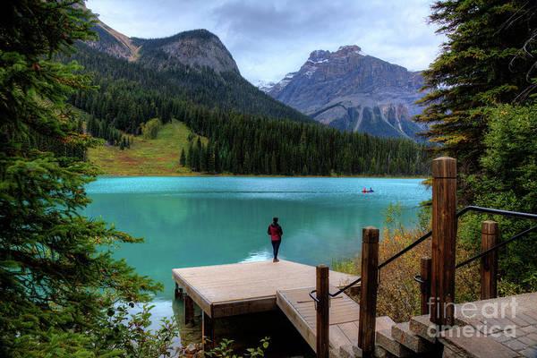 Photograph - Woman Looking Emerald Lake Yoho National Park British Columbia Canada by Wayne Moran
