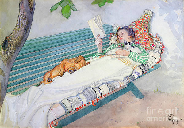 Woman Reading Wall Art - Painting - Woman Lying On A Bench by Carl Larsson