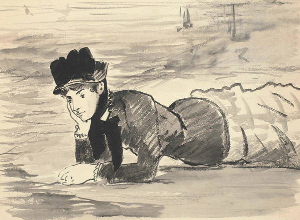 Drawing - Woman Lying On The Beach by Edouard Manet