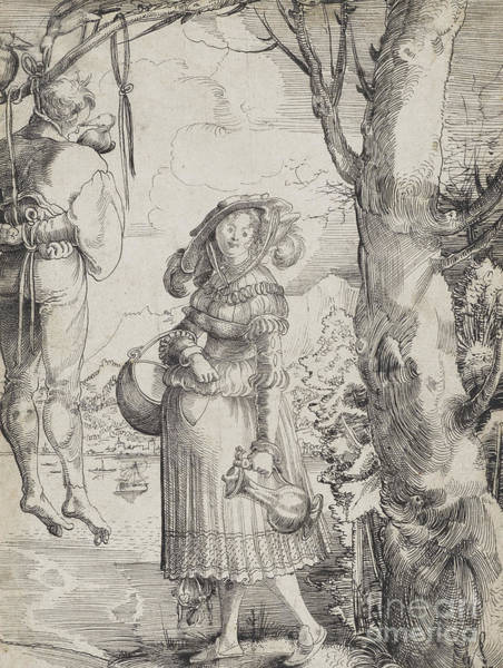 Wall Art - Drawing - Woman Near Hanged Man, 1525 by Urs the elder Graf