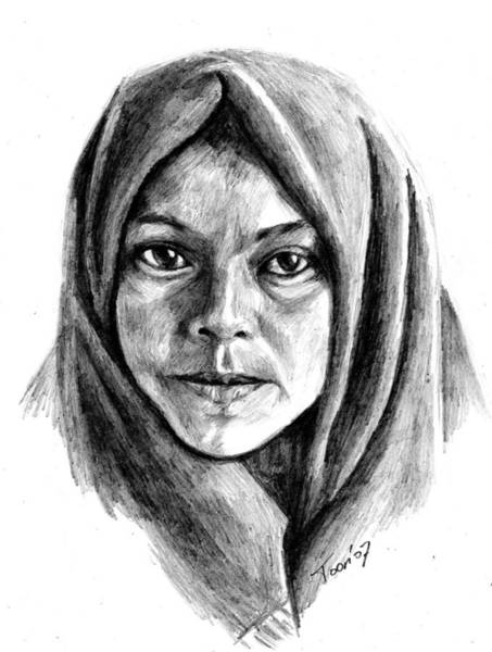 Drawing - Woman Of Kiusta by Toon De Zwart