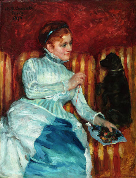 Elegant Dog Painting - Woman On A Striped Sofa With A Dog by Mary Cassatt