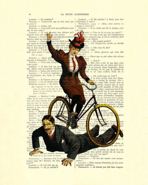 Wall Art - Digital Art - Woman On Bicycle Riding Over Man by Madame Memento