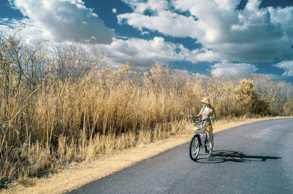 Photograph - Woman On Bicycle by Steven Greenbaum