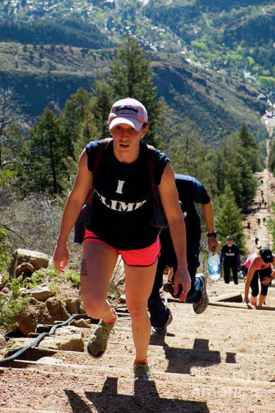 Photograph - Woman On The Manitou Incline And Barr Trail by Steve Krull