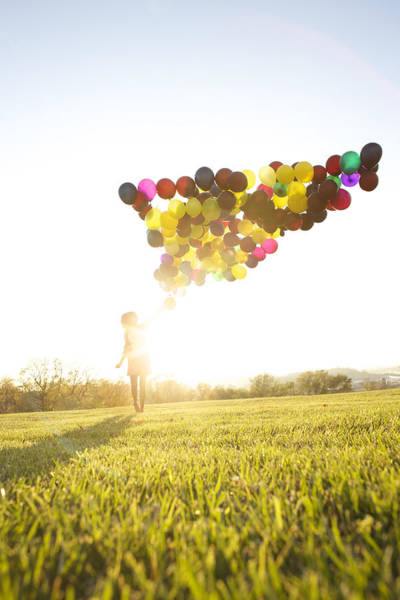 Wall Art - Photograph - Woman Outside With Balloons by Gillham Studios