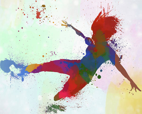 Wall Art - Painting - Woman Playing Soccer by Dan Sproul