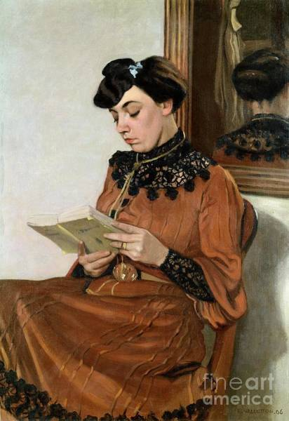 Woman Reading Wall Art - Painting - Woman Reading by Felix Edouard Vallotton