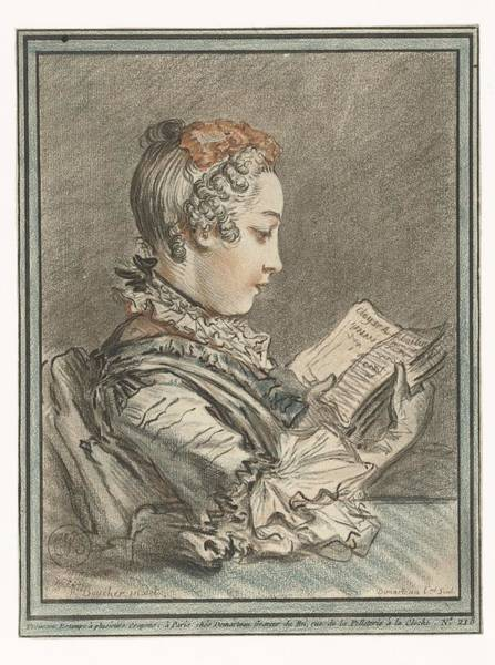 Painting - Woman Reading  Gilles Demarteau  After Francois Boucher 1756   1776 by Artistic Panda