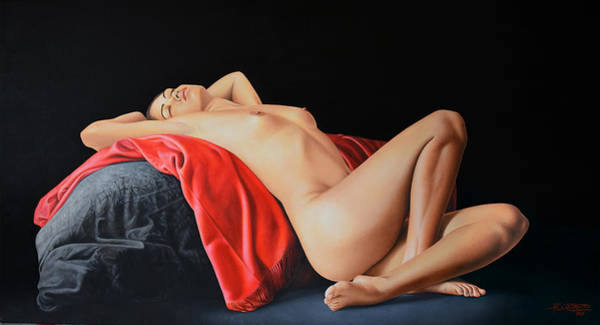 Wall Art - Painting - Woman Resting On A Red Cloth by Horacio Cardozo