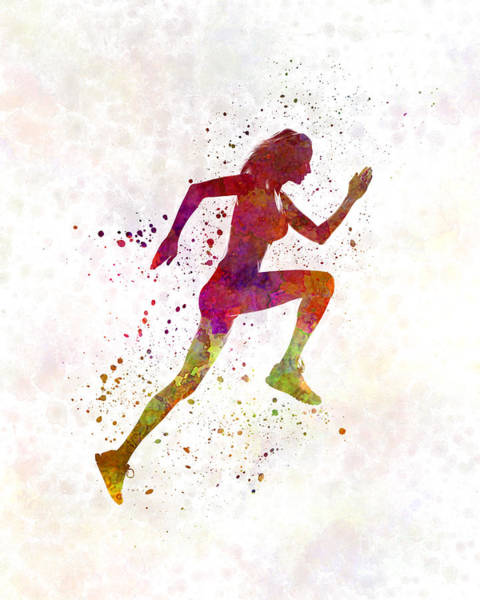 Jogging Painting - Woman Runner Running Jogger Jogging Silhouette 02 by Pablo Romero