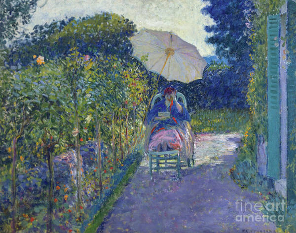 Exterior Painting - Woman Seated In A Garden by Frederick Carl Frieseke