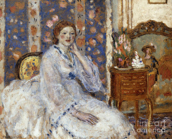 Turning Painting - Woman Seated In An Armchair by Frederick Carl Frieseke