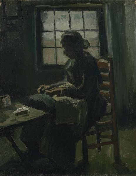 Painting - Woman Sewing Nuenen, March - April 1885 Vincent Van Gogh 1853 - 1890 by Artistic Panda