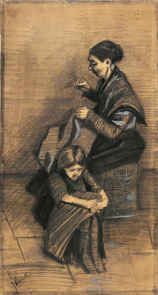 Casual Painting - Woman Sewing, With A Girl, 1883 by Vincent Van Gogh