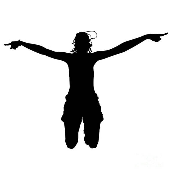 Digital Art - Woman Silhouette Jumping by Benny Marty