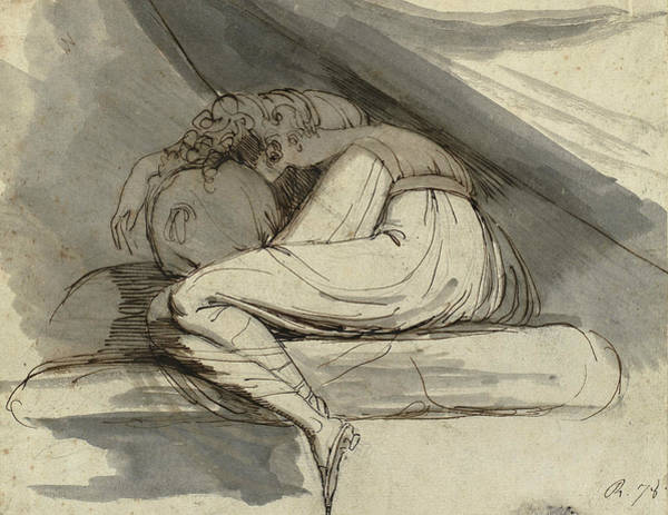 Drawing - Woman Sitting Curled Up by Henry Fuseli
