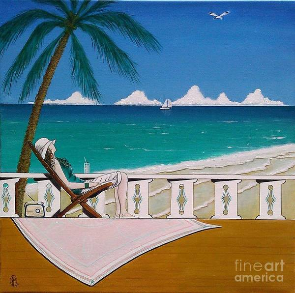 Ming Tree Painting - Woman Sitting In Deck Chair Basking In The Tropical View by John Lyes