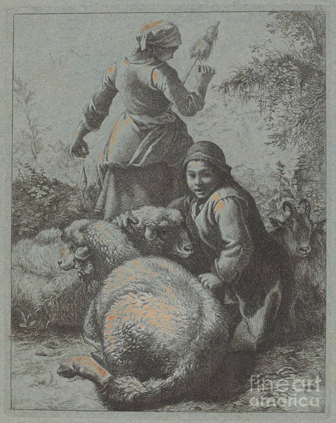 Wall Art - Drawing - Woman Spinner And A Shepherd With Flock by Francesco Londonio
