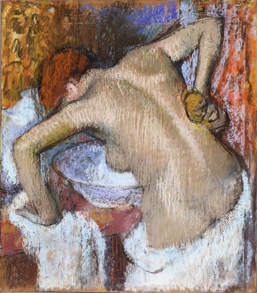 Sponge Painting - Woman Sponging Her Back  1888-92 by Edgar Degas
