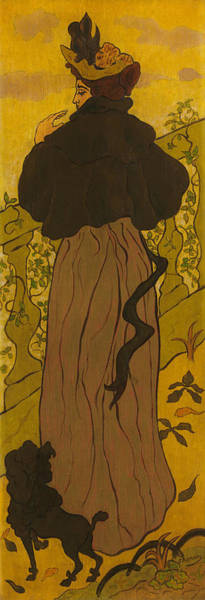 Wall Art - Painting - Woman Standing Beside Railing With Poodle by Paul Ranson