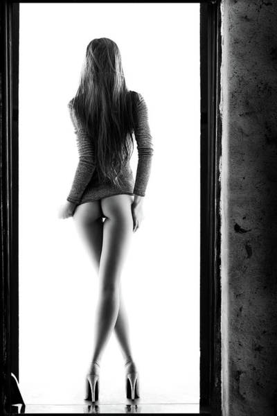 Butt Photograph - Woman Standing In Doorway by Johan Swanepoel