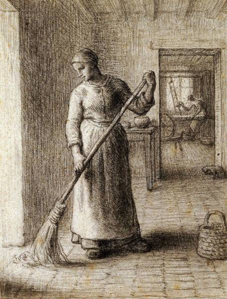 Painting - Woman Sweeping Her Home By Jean Francois Millet by Artistic Panda