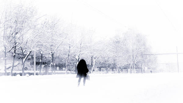 Photograph - Woman Walking In Snow Near Road by John Williams