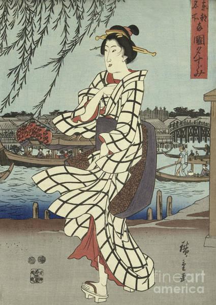 Platform Painting - Woman Walking On A Riverbank, Circa 1848 by Hiroshige