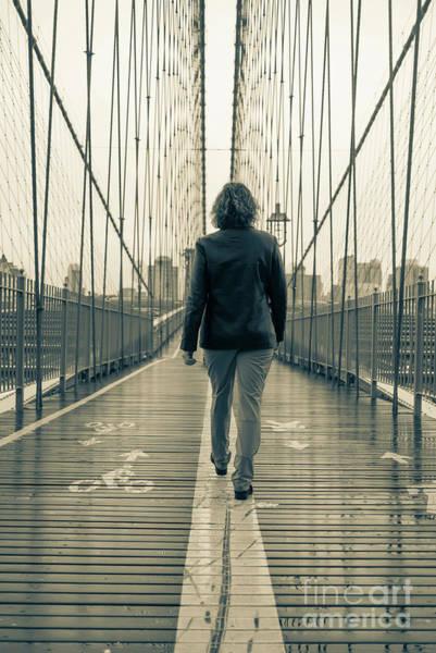 Photograph - Woman Walking On The Brooklyn Bridge by Edward Fielding