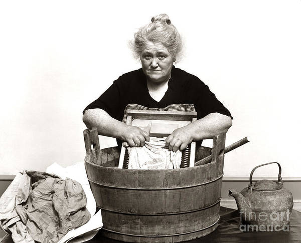 Dirty Laundry Photograph - Woman Washing Clothes, C. 1930s by H. Armstrong Roberts/ClassicStock