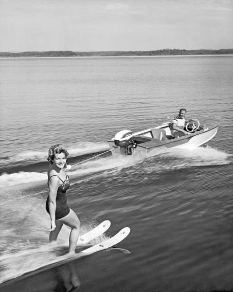 Wall Art - Photograph - Woman Water Skiing by Underwood Archives