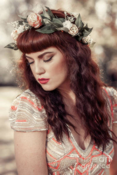 Wall Art - Photograph - Woman Wearing Floral Crown by Amanda Elwell