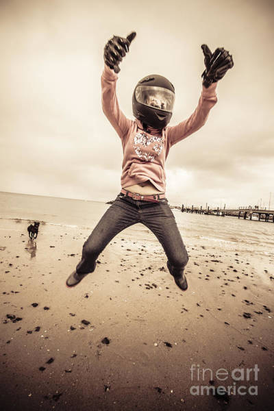 Agile Photograph - Woman Wearing Helmet And Gloves Jumping On Beach by Jorgo Photography - Wall Art Gallery