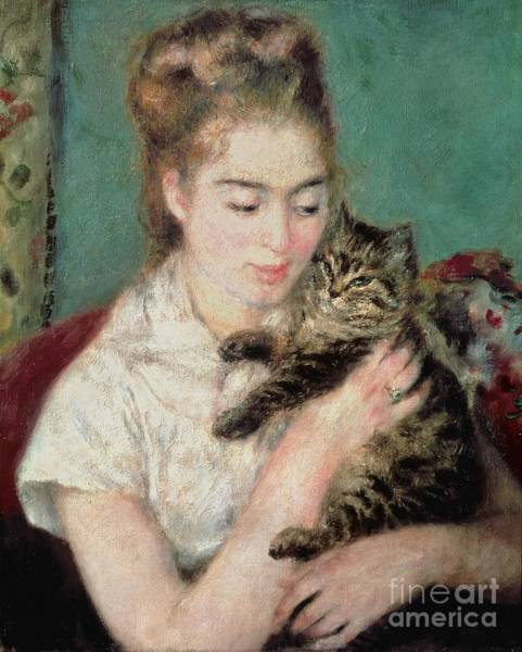 Pussy Painting - Woman With A Cat by Pierre Auguste Renoir