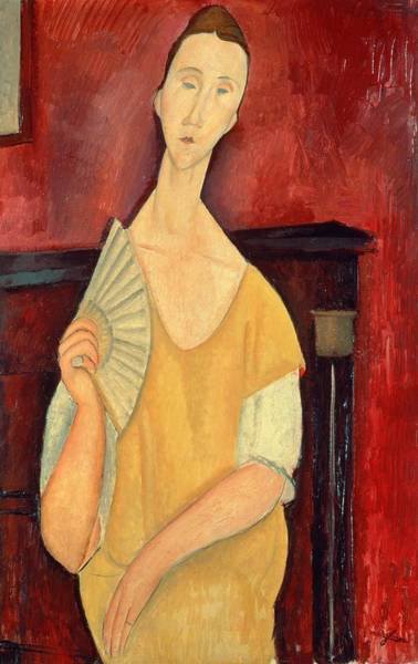Late Painting - Woman With A Fan by Amedeo Modigliani