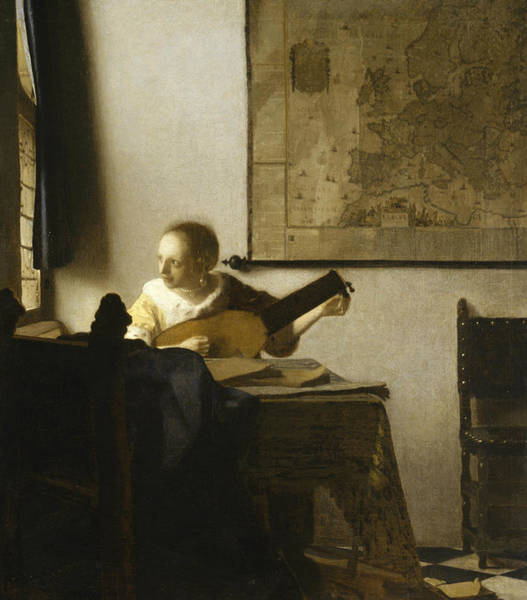 Woman With A Lute Near A Window Art Print