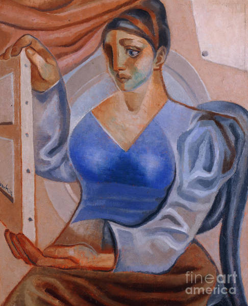 Wall Art - Painting - Woman With A Painting by Juan Gris