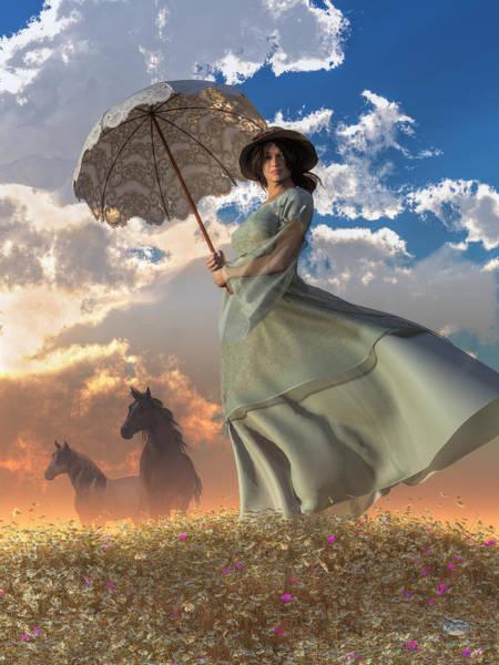 Digital Art - Woman With A Parasol by Daniel Eskridge