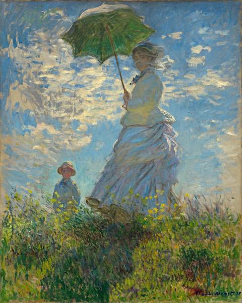 Painting - Woman With A Parasol Madame Monet And Her Son 1875 by Claude Monet