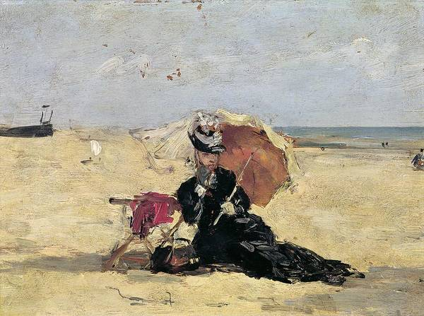 Parasol Painting - Woman With A Parasol On The Beach by Eugene Louis Boudin