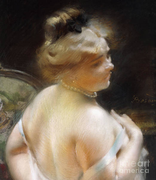 Intimate Portrait Wall Art - Pastel - Woman With A Pearl Necklace by Paul Albert Besnard
